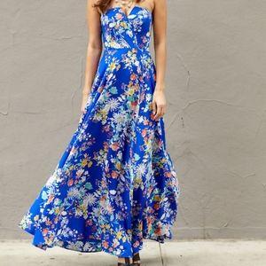 Yumi Kim Blue Floral Silk Maxi Dress